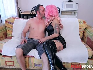 Wearing bright pink wig tattooed nympho Sexy Angel desires to get holes polished