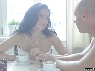 Tantalizing brunette with fake tits Diana is making love early in the morning