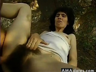 Very Hairy MILF in the forest