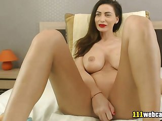Amateur russian big tits MILF camgirl masturbates on webcam