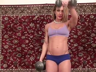 Sporty fit blonde MILF babe Burke takes off her panties