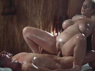 Massage Rooms Flirtatious mother I´d like to fuck with huge natural jugs gives oily titwank
