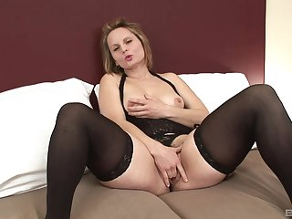 Mature Magda gets her hairy pussy covered with cum from a black guy