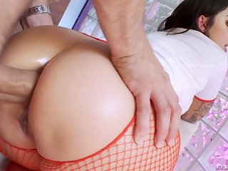 Naughty attractive curvy nurse Ivy Lebelle blows cock before good anal
