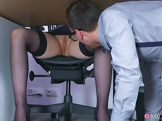 Lucky guy Matty fucked busty blonde boss Angel Wicky